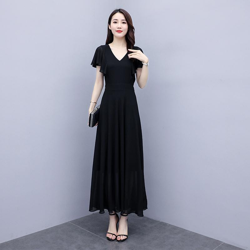 Voan Váy Đầm Nữ 2020 Mùa Hè Mẫu Mới Dáng Dài Qua Đầu Gối Đến Mắt Cá Chân Khí Chất Mùa Hè Váy Váy Dài