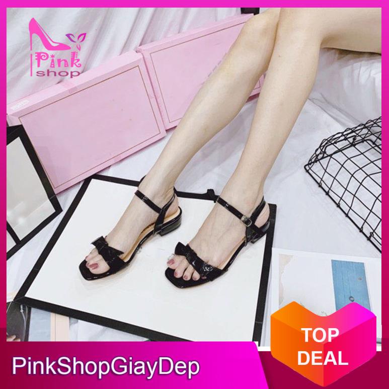 (Có mã miễn ship) Giày nữ, Giày cao gót nữ, Giày sandal nữ đi học PinkShopGiayDep kiểu dáng thắt nơ lên chân sang trọng giá rẻ