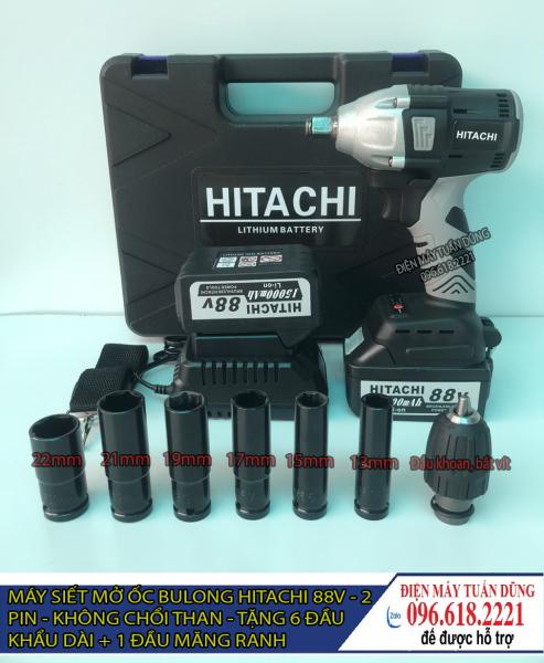 Máy vặn ốc bulong pin - Máy siết bulong - Máy bắt vít Hitachi 88V 2 TRONG 1 - 2 Pin 15000 mAh - TẶNG 6 KHẨU DÀI 13.15.17.19.21.22 + ĐẦU KHOAN SẮT, GỖ, BẮN VÍT...