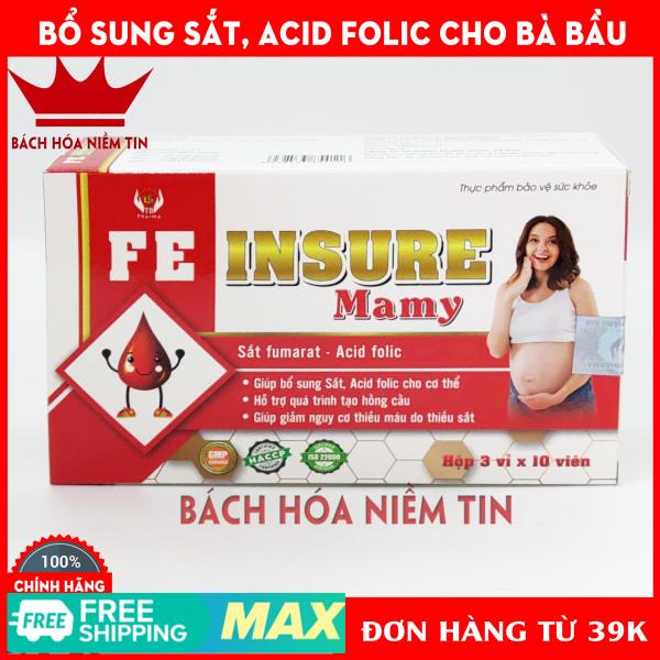 Viên uống Acid folic, sắt cho bà bầu, trẻ nhỏ FEinsure Mamy - Bổ sung sắt và acid folic cho cơ thể. Dùng cho phụ nữ có thai, cho con bú, người sau phẫu thuật...Hộp 30 viên chuẩn GMP bộ y tế cao cấp