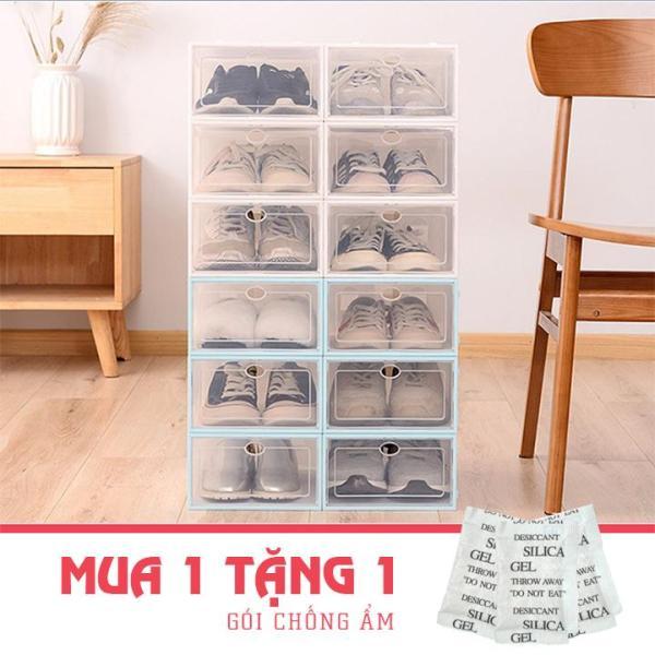 Combo 5 Hộp Đựng Giày Dép Lắp Ghép, Tủ Giày Nắp Nhựa Cứng Tặng Kèm Gói Hút Ẩm