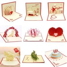 Hình ảnh 10 PCS 3D Pop Up Cards Invitations Valentine Lover Happy Birthday Anniversary Greeting Cards - intl