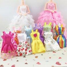 Hình ảnh 10 cái Tay Đầm Dự Tiệc Cưới Mini Váy Bầu Thời Trang Quần Áo Cho Búp Bê Barbie-quốc tế