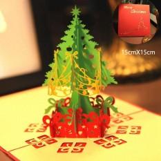 Hình ảnh 10 PCS Merry Christmas Tree Vintage 3D Laser Cut Pop Up Paper Handmade Custom Greeting Cards Christmas Gifts Souvenirs Postcards - intl