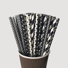 Hình ảnh 100 Pcs Paper Straws Black and White Stripe Chevron Polka Dot FDA Disposable Drinking Straws Party Supplies - intl