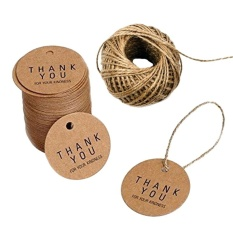 Hình ảnh 100 cái Lễ Tạ Ơn Tặng Thẻ Handmade Cảm Ơn Bạn Ký Tag Treo Lễ Tạ Ơn Trang Trí với Đay Dây-quốc tế