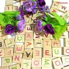 100 cái Gỗ Scrabble Ốp Chữ Số Cho Nghề Thủ Công Gỗ Bảng Chữ Cái Đồ Chơi-quốc tế