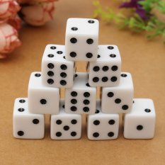 Hình ảnh 10PCS 16mm Gaming Dice Standard Six Sided Die 6D RPG For Birthday Parties White - intl
