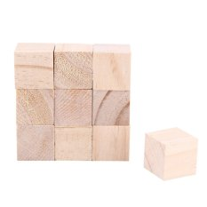 Hình ảnh 10pcs 25mm Natural Wood Square Blocks Woodwork Craft Accessary - intl