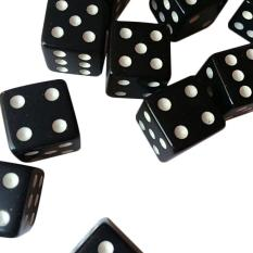 Hình ảnh 10pcs Dice Dices Plastic Gaming Standard Six Sided 12mm Black With White Pips