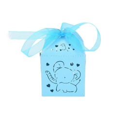 10pcs Elephant Laser Hollow Carriage Favors Box Gifts Candy Boxes Party Supplies Blue - intl