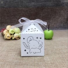 10pcs Elephant Laser Hollow Carriage Favors Box Gifts Candy Boxes Party Supplies White - intl
