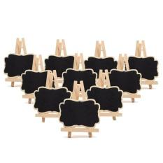 Hình ảnh 10PCS Mini Wood Easel Stand Blackboard Chalkboard Menu Boards for Wedding Party Daily Home Decoration - intl