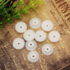 Hình ảnh 10pcs White Gear 2mm Plastic Accessories Of DIY Model Toy Motor Shaft Gear - intl
