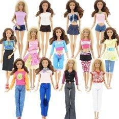 Hình ảnh 10 cái/5 bộ Thời Trang Bộ Trang Phục Quần Áo Cho Búp Bê Barbie Đảng Xmas Quà Tặng Đáng Yêu Dễ Thương-quốc tế