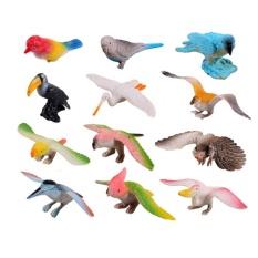 Hình ảnh 12 cái/bộ Chim Nhân Vật Đồ Chơi Bộ Trẻ Em Kid Mô Hình Động Vật Bộ Đồ Chơi Nhựa Cứng-quốc tế