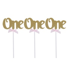 Hình ảnh 12pcs First Birthday Cupcake Toppers Glitter ONE 1st Years Party Decoration(Gold) - intl