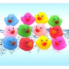 Hình ảnh 12x Colorful Baby Children Bath Toys Cute Rubber Squeaky Duck Ducky - intl
