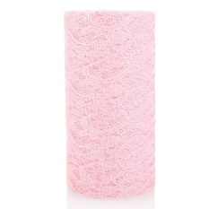 Hình ảnh 15cmx9m Lace Roll Table Runner Chair Sash Wedding Bouquet Venue Decoration Pink - intl