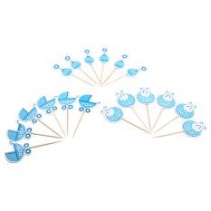 Hình ảnh 18Pcs Kids Birthday Cute Cupcake Toppers Decorations (Blue) - intl