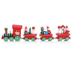 Hình ảnh 1 cái Xe Lửa Bằng Gỗ Giáng Sinh Ông Già Noel Lễ Hội Vật Trang Trí Nhà Trang Trí Tiệc Đồ Chơi Trẻ Em Quà Tặng-Đỏ-quốc tế