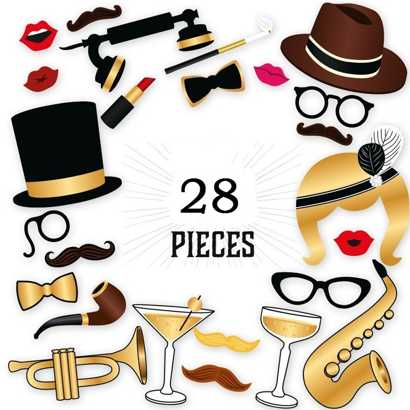28Pieces Photo Booth Props Wedding Favor Gift Birthday Supplies Party Fun Photography Accessories - intl