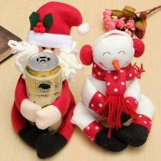 Hình ảnh 2 cái Người Tuyết/Ông Già Noel Rượu Uống Giá Đỡ Vật Trang Trí Giáng Sinh-intl