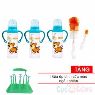 3 Bình sữa Cacara nhựa cổ thường 250ml có tay cầm họa tiết ngẫu nhiên + cọ rửa binh sua Tặng 1 giá úp bình sữa thumbnail