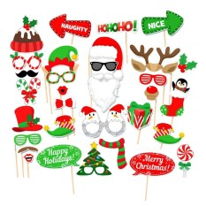 32 PCS Christmas Party Photo Booth Props Kit Happy Christmas Xmas Pose Sign Photobooth Card Accessories - intl