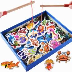 Hình ảnh 32Pcs Baby Educational Toys Fish Wooden Magnetic Fishing Toy Set Fish Game Educational Fishing Toy Child Birthday/Christmas Gift - intl