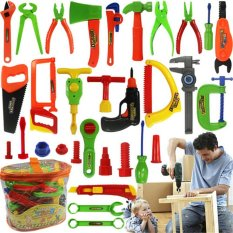 Hình ảnh 32pcs Children Kids Pretend Play Craftsman Carpentry Repair Toy Tools Kit Set - intl