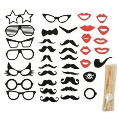 Hình ảnh 38pcs Moustache Glasses Shape Photo Booth Stick Props Party Birthday Wedding Multi - intl