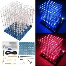 Hình ảnh 3D Squared DIY Kit 8x8x8 3mm LED Cube White LED Blue/Red Light PCB Board - intl