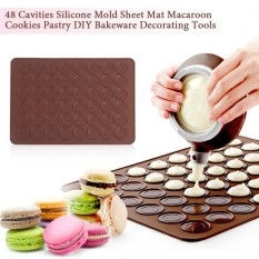 Hình ảnh 48 Cavities Silicone Mold Sheet Mat Macaroon Cookies Pastry DIY Bakeware Decorating Tools - intl