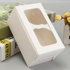 Hình ảnh 4 cái Trắng Cupcake Hộp với Cửa Sổ 2 Khoang-quốc tế