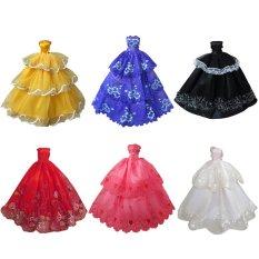 Hình ảnh 6 cái Đồ Chơi Búp Bê Ren Satin Chính Thức Dài Đầm Vải Trang Phục Phụ Kiện cho 11.5 inch Búp Bê Barbie Cô Gái Sinh Nhật quà Tặng giáng sinh-quốc tế