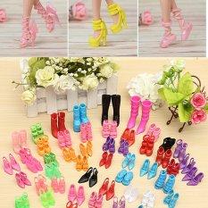 Hình ảnh 60 cặp 120 cái Búp Bê Bộ Trang Phục Đầm Thời Trang Giày Gót Cho Búp Bê Barbie-quốc tế