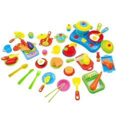 Hình ảnh 60 Pcs Educational Mini Pretend Kitchen Toy Ware Set Plastic Cooking Dishes Food Kids Gift