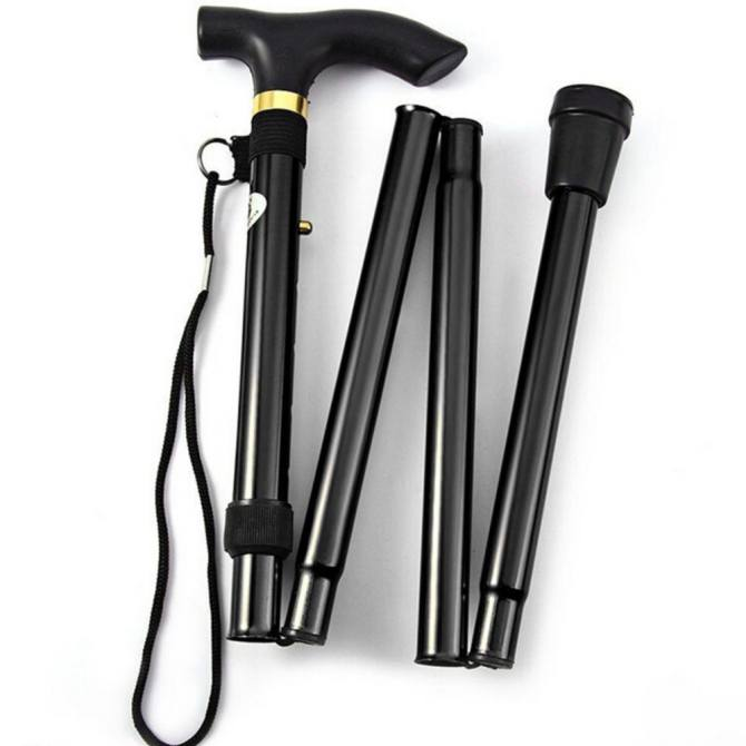 Hình ảnh Adjustable Aluminum Metal Cane Walking Stick Folding Column Collapsible Travel Black - intl