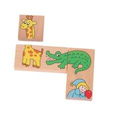 Hình ảnh Animal Building Blocks Kids Educational Toys Wooden Cute Animal Pattern Domino - intl