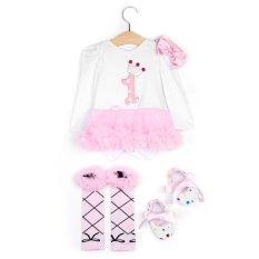 Mã Khuyến Mại Baby Girls 4Pcs Stylish Romper Dress Headband Foot Cover 4 L Pink Intl Oem