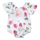Baby Girls Short Sleeve Flower Printed Romper Jumpsuit White Intl Vakind Rẻ Trong Trung Quốc
