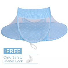 Chiết Khấu Baby Toddler Foldable Crib Bed Travel Mosquito Net Tent Blue Buy 1 Get 1 Free Child Safety Corner Lock Intl Có Thương Hiệu