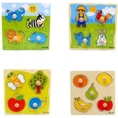 Hình ảnh Baby Toddler Intelligence Development Animal Wooden Brick Puzzle Toy Classic New - intl