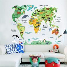 Hình ảnh Bản đồ thế giới dán tường cho bé - Wildlife World Zoo