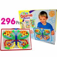 Hình ảnh Bảng ghép hình bằng nhựa 296 hạt nấm ghép