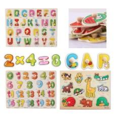 Hình ảnh Bảng ghép hình động vật, chữ cái, chữ số núm gỗ(3 bảng)