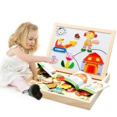 Hình ảnh Bảng ghép hình nam châm học hình khối màu sắc - Viết phấn bảng đen - Viết bút dạ bảng trắng cho trẻ chuẩn bị vào lớp 1 dạng Hộp gỗ thông