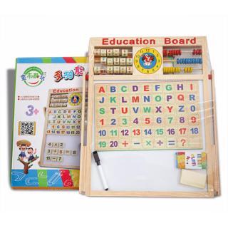 Bảng gỗ giáo dục 2 mặt nam châm kèm bộ chữ cái và bộ chữ số cho bé thumbnail