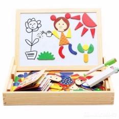 Hình ảnh Bảng viết nam châm hai mặt kèm bộ ghép hình gỗ cho bé